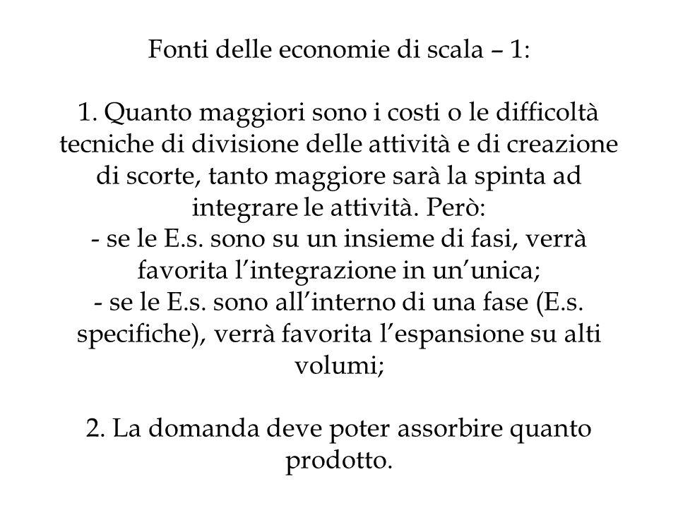 Fonti delle economie di scala – 1: 1