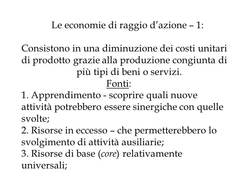 Le economie di raggio d'azione – 1: Consistono in una diminuzione dei costi unitari di prodotto grazie alla produzione congiunta di più tipi di beni o servizi.