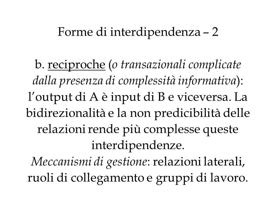 Forme di interdipendenza – 2 b