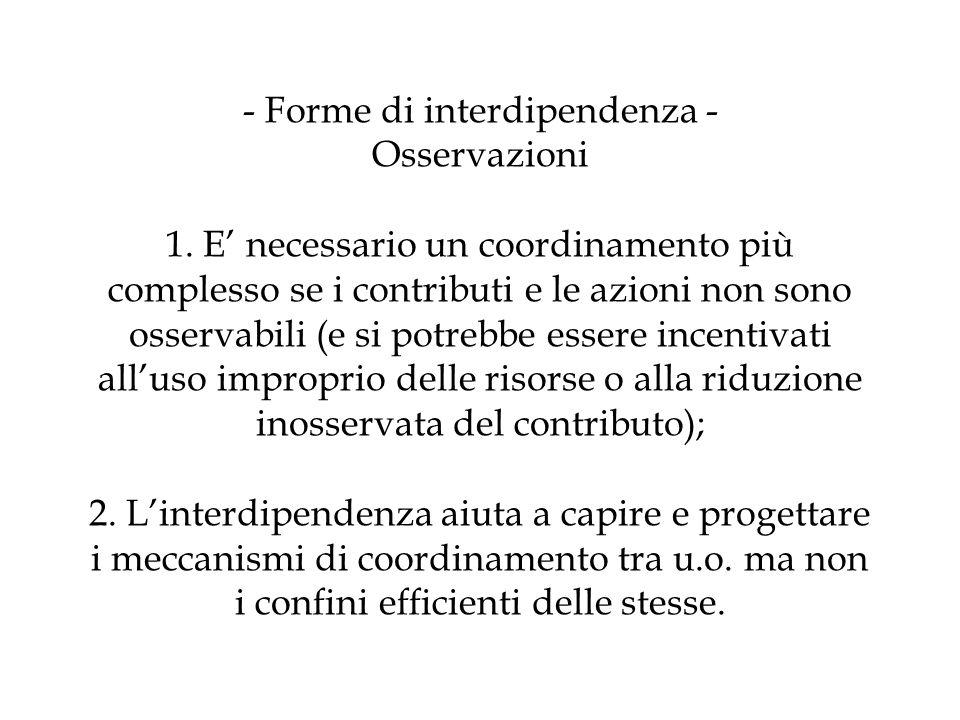 - Forme di interdipendenza - Osservazioni 1