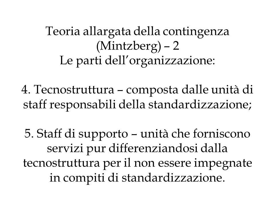 Teoria allargata della contingenza (Mintzberg) – 2 Le parti dell'organizzazione: 4.