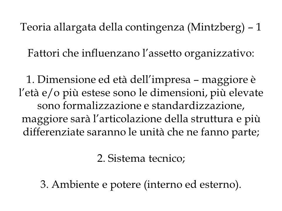 Teoria allargata della contingenza (Mintzberg) – 1 Fattori che influenzano l'assetto organizzativo: 1.