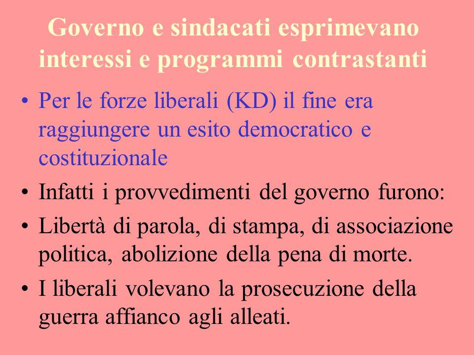 Governo e sindacati esprimevano interessi e programmi contrastanti