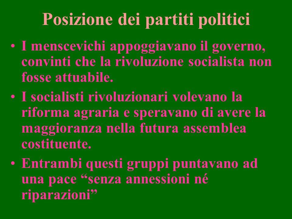 Posizione dei partiti politici