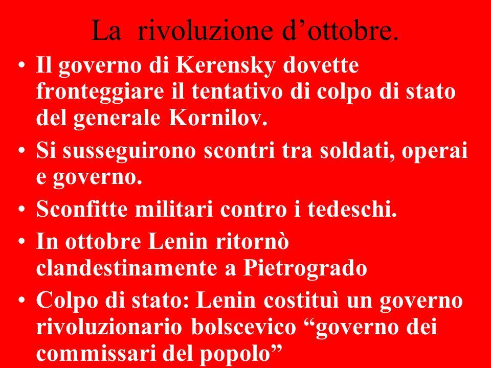La rivoluzione d'ottobre.
