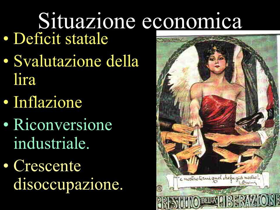 Situazione economica Deficit statale Svalutazione della lira