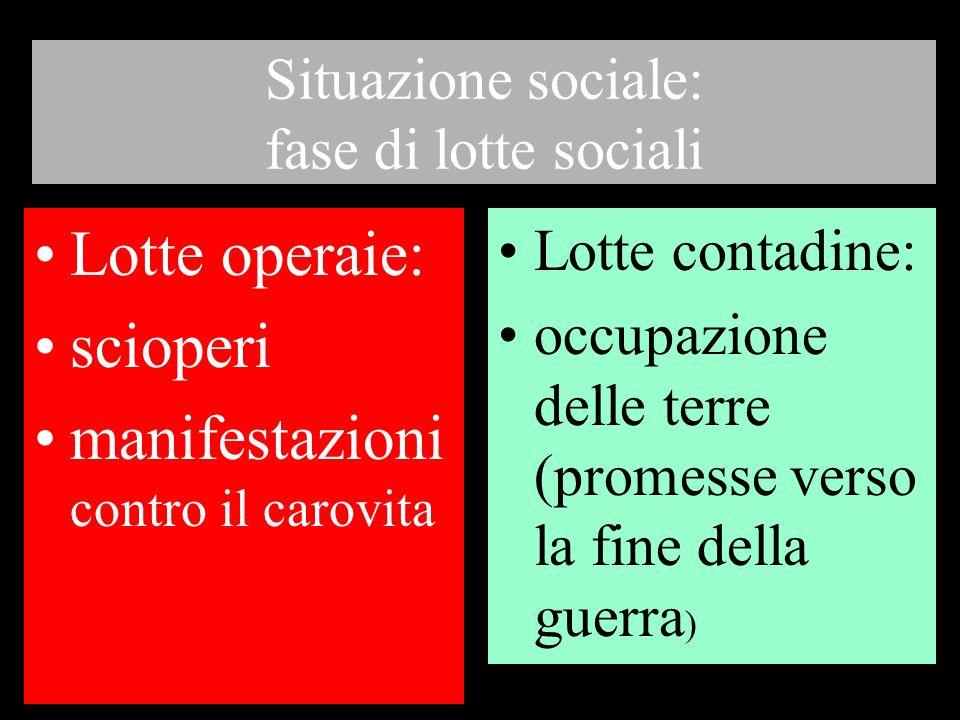 Situazione sociale: fase di lotte sociali