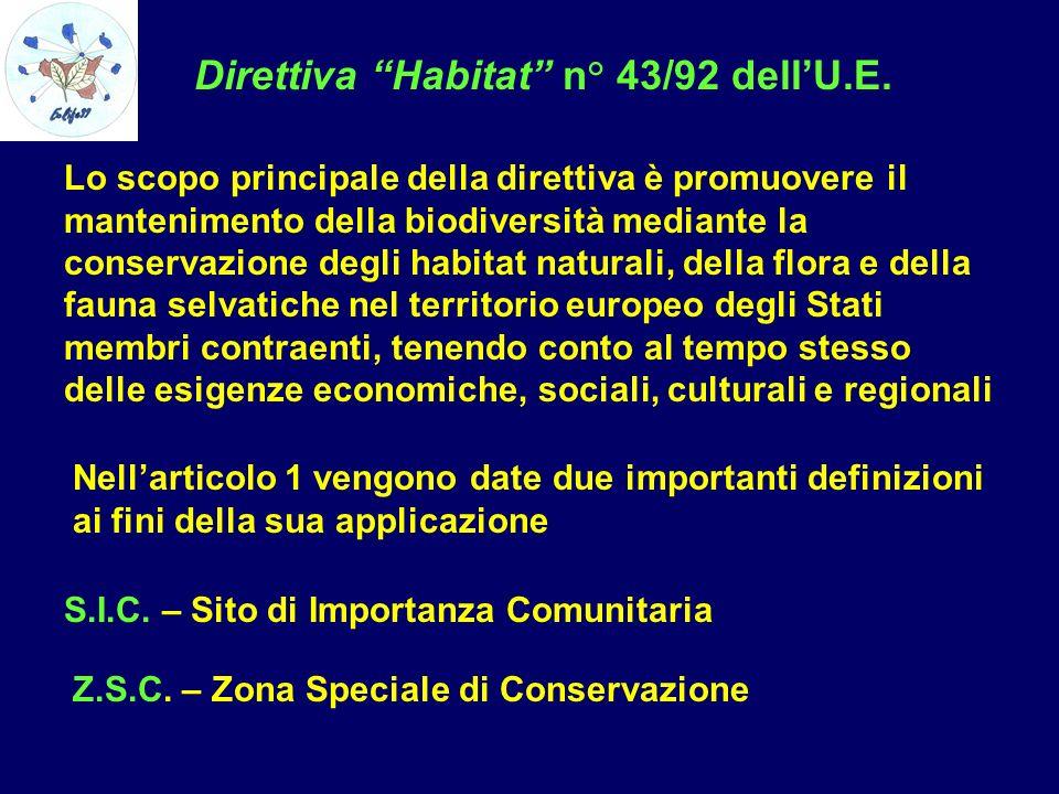 Direttiva Habitat n° 43/92 dell'U.E.