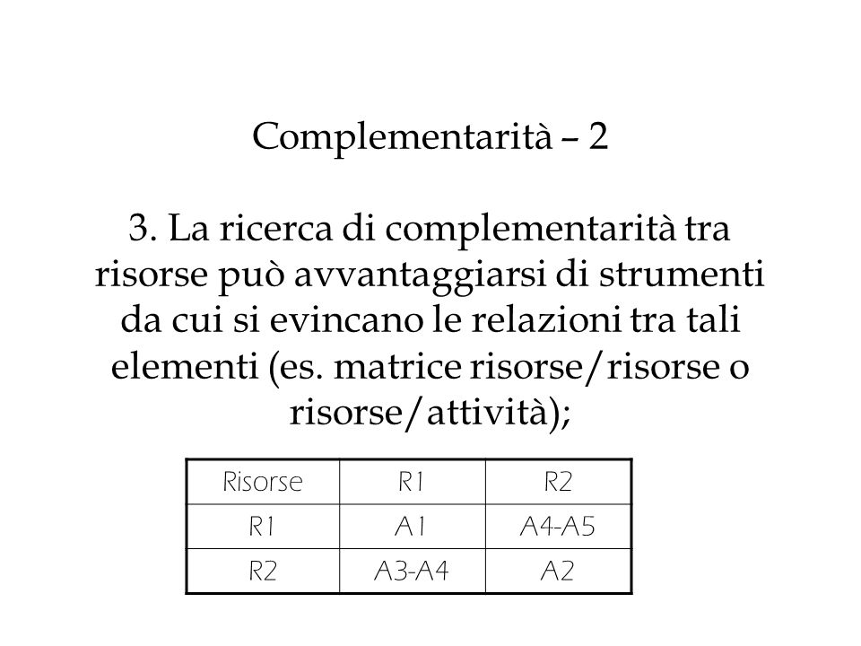 Complementarità – 2 3. La ricerca di complementarità tra risorse può avvantaggiarsi di strumenti da cui si evincano le relazioni tra tali elementi (es. matrice risorse/risorse o risorse/attività);