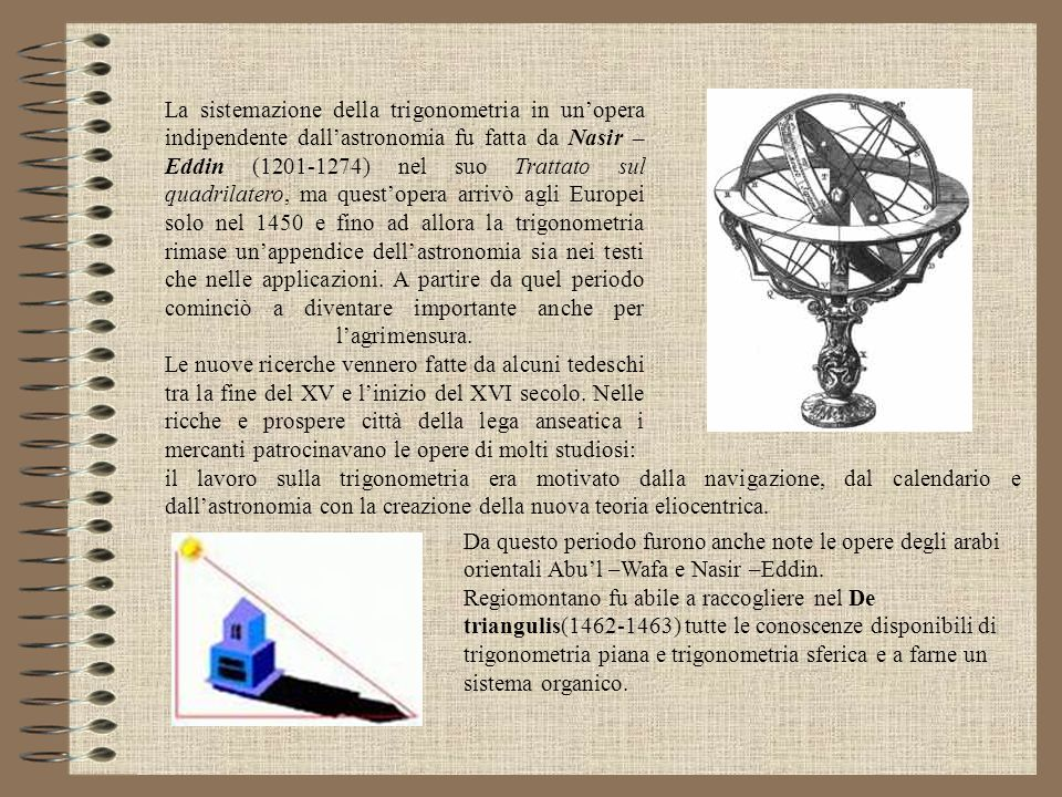 La sistemazione della trigonometria in un'opera indipendente dall'astronomia fu fatta da Nasir –Eddin (1201-1274) nel suo Trattato sul quadrilatero, ma quest'opera arrivò agli Europei solo nel 1450 e fino ad allora la trigonometria rimase un'appendice dell'astronomia sia nei testi che nelle applicazioni. A partire da quel periodo cominciò a diventare importante anche per l'agrimensura. Le nuove ricerche vennero fatte da alcuni tedeschi tra la fine del XV e l'inizio del XVI secolo. Nelle ricche e prospere città della lega anseatica i mercanti patrocinavano le opere di molti studiosi: