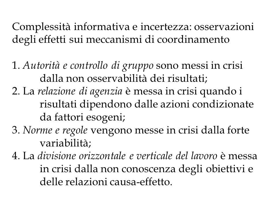 Complessità informativa e incertezza: osservazioni degli effetti sui meccanismi di coordinamento 1.