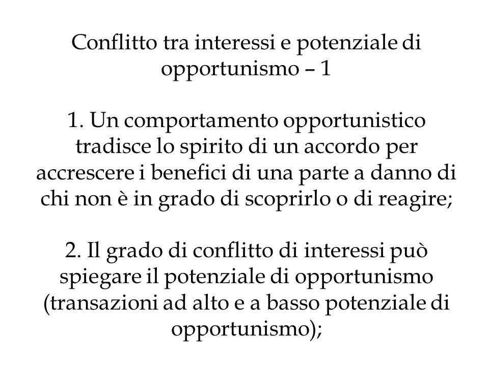 Conflitto tra interessi e potenziale di opportunismo – 1 1
