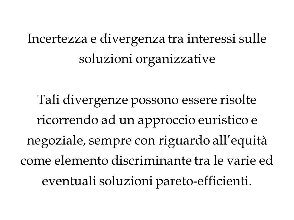 Incertezza e divergenza tra interessi sulle soluzioni organizzative Tali divergenze possono essere risolte ricorrendo ad un approccio euristico e negoziale, sempre con riguardo all'equità come elemento discriminante tra le varie ed eventuali soluzioni pareto-efficienti.
