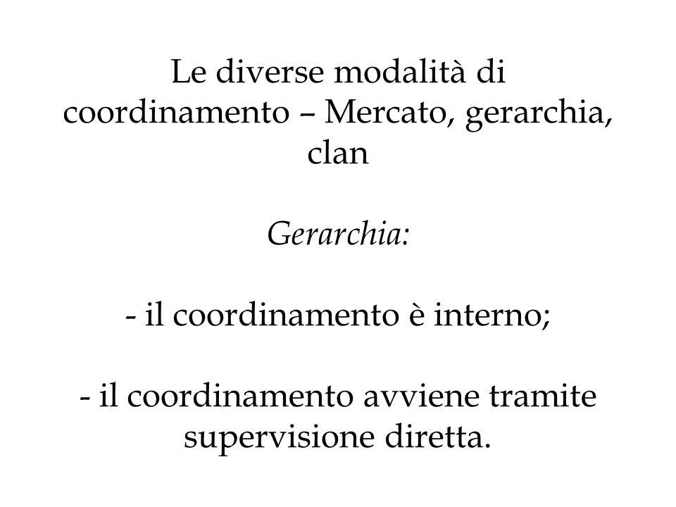 Le diverse modalità di coordinamento – Mercato, gerarchia, clan Gerarchia: - il coordinamento è interno; - il coordinamento avviene tramite supervisione diretta.