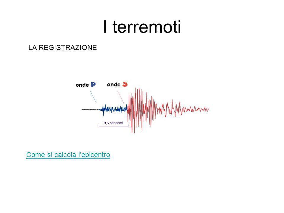 I terremoti LA REGISTRAZIONE Come si calcola l'epicentro