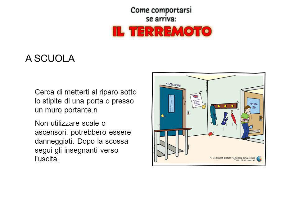 A SCUOLA Cerca di metterti al riparo sotto lo stipite di una porta o presso un muro portante.n.