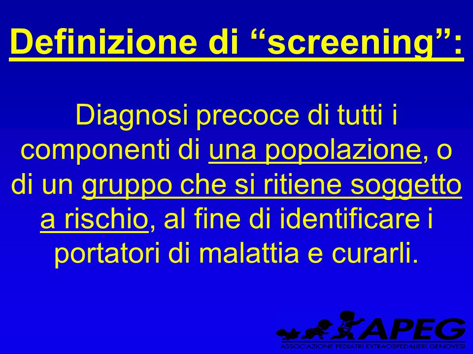 Definizione di screening :