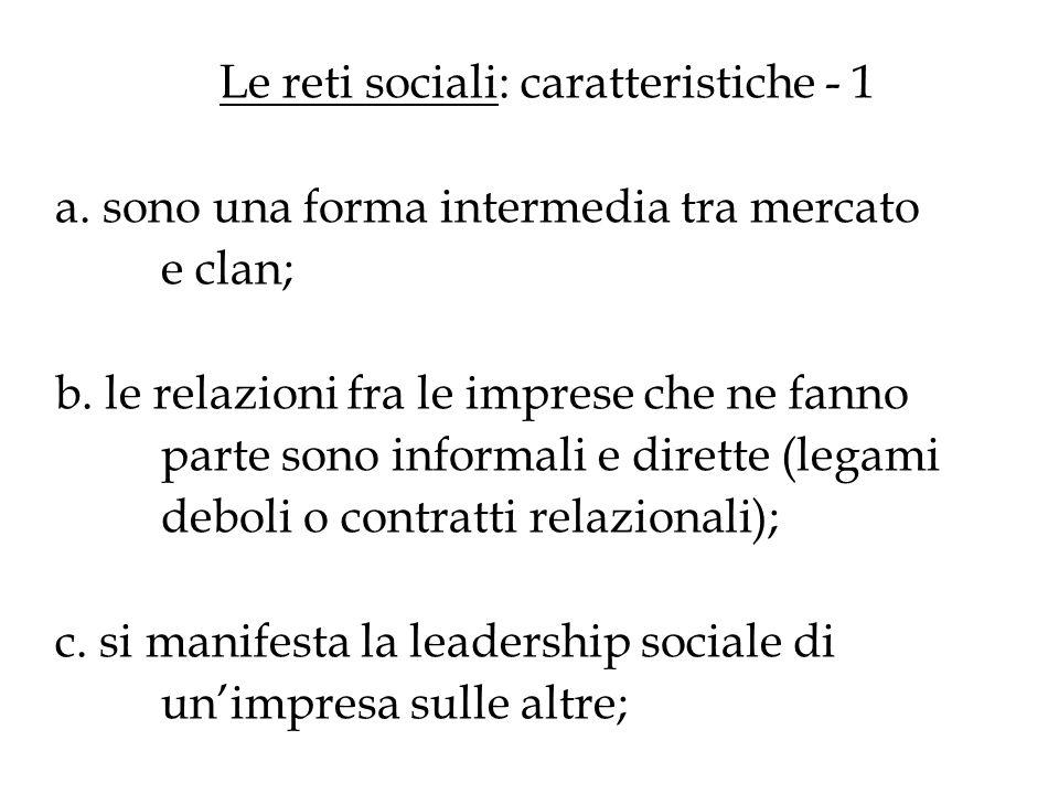 Le reti sociali: caratteristiche - 1 a