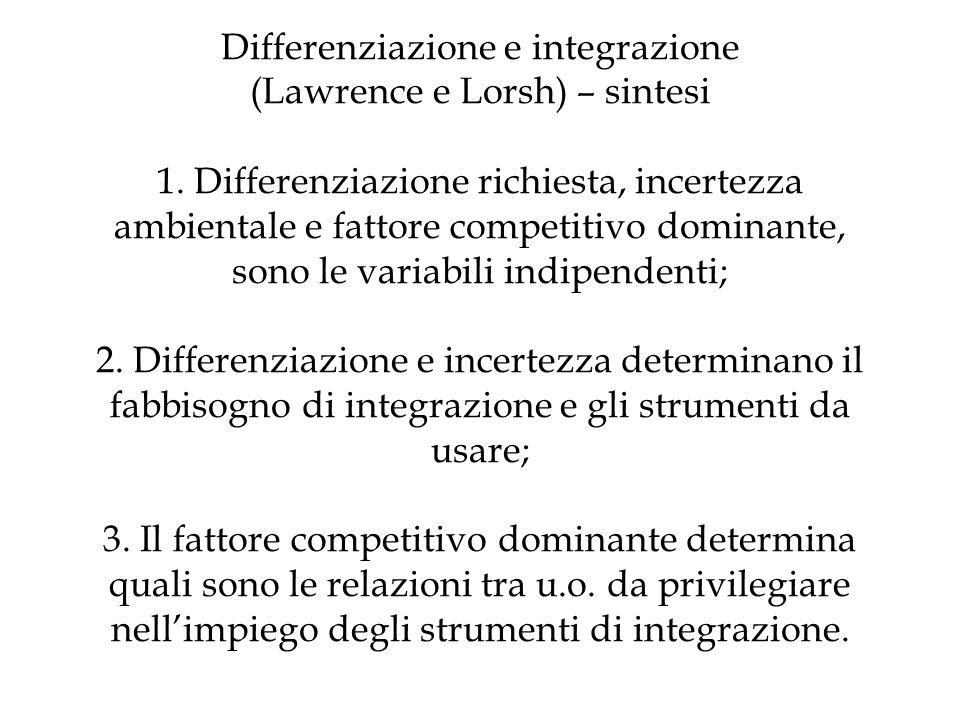 Differenziazione e integrazione (Lawrence e Lorsh) – sintesi 1