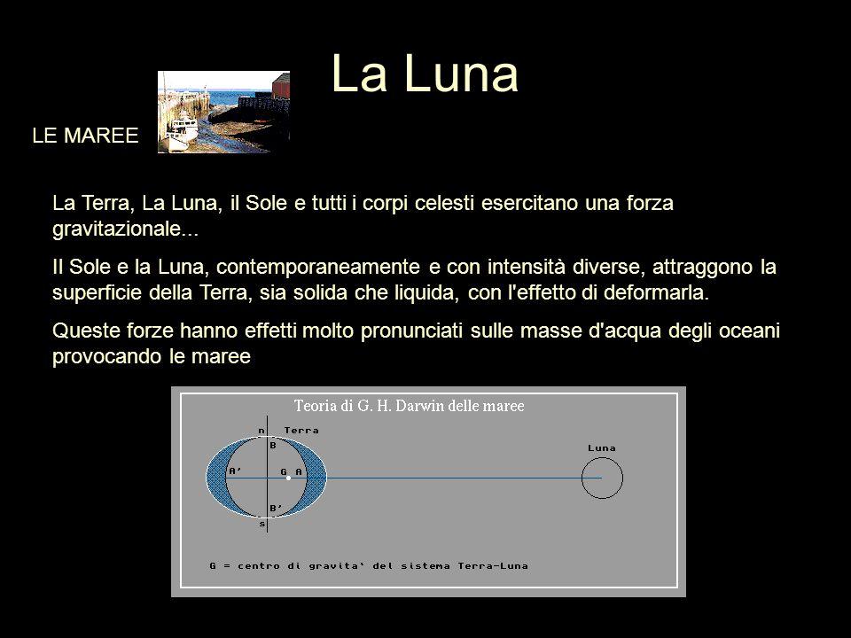 La Luna LE MAREE. La Terra, La Luna, il Sole e tutti i corpi celesti esercitano una forza gravitazionale...