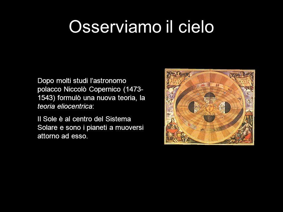 Osserviamo il cielo Dopo molti studi l'astronomo polacco Niccolò Copernico (1473-1543) formulò una nuova teoria, la teoria eliocentrica: