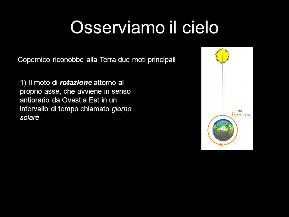 Osserviamo il cielo Copernico riconobbe alla Terra due moti principali