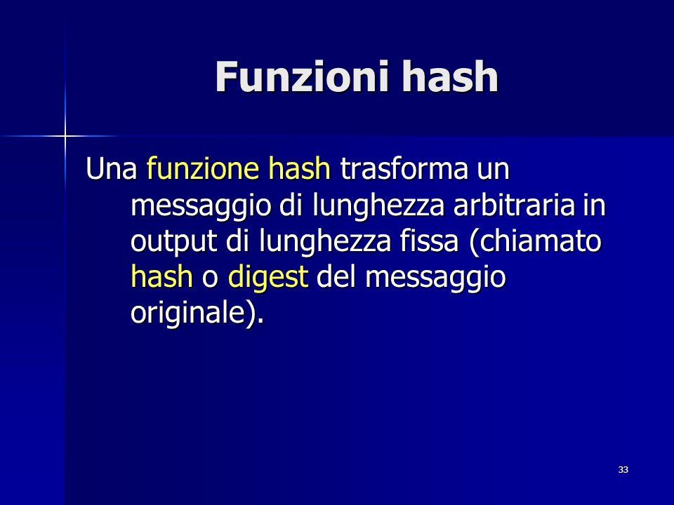 Reti di Calcolatori Funzioni hash.