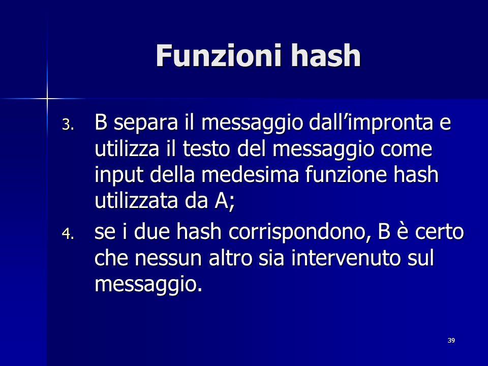 Funzioni hash B separa il messaggio dall'impronta e utilizza il testo del messaggio come input della medesima funzione hash utilizzata da A;