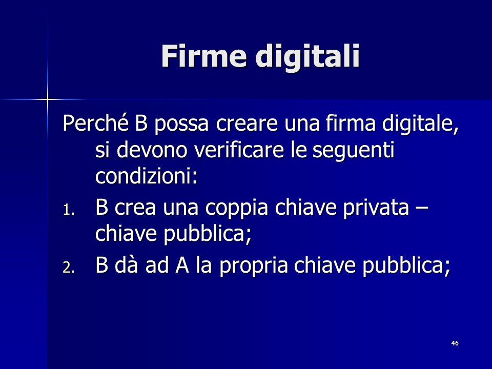 Firme digitali Perché B possa creare una firma digitale, si devono verificare le seguenti condizioni: