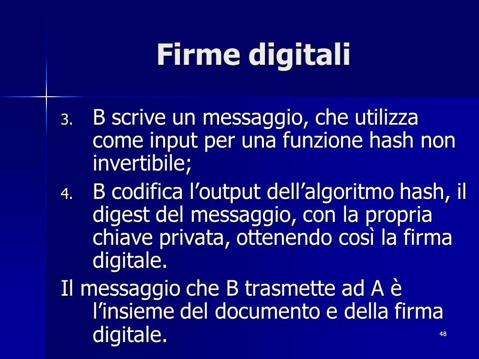 Firme digitali B scrive un messaggio, che utilizza come input per una funzione hash non invertibile;