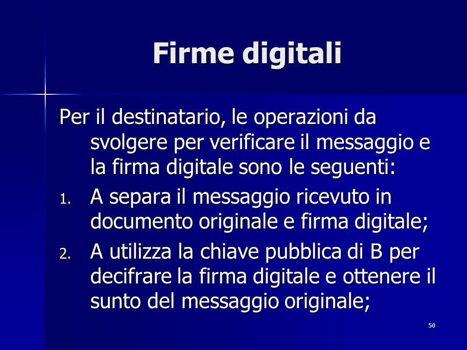 Firme digitali Per il destinatario, le operazioni da svolgere per verificare il messaggio e la firma digitale sono le seguenti: