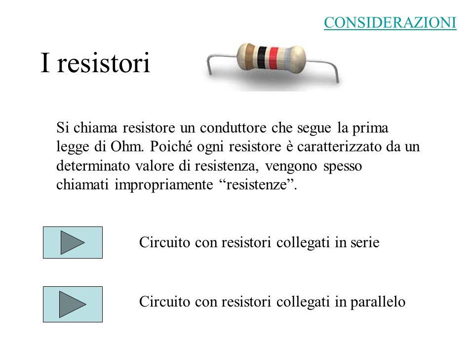 I resistori CONSIDERAZIONI