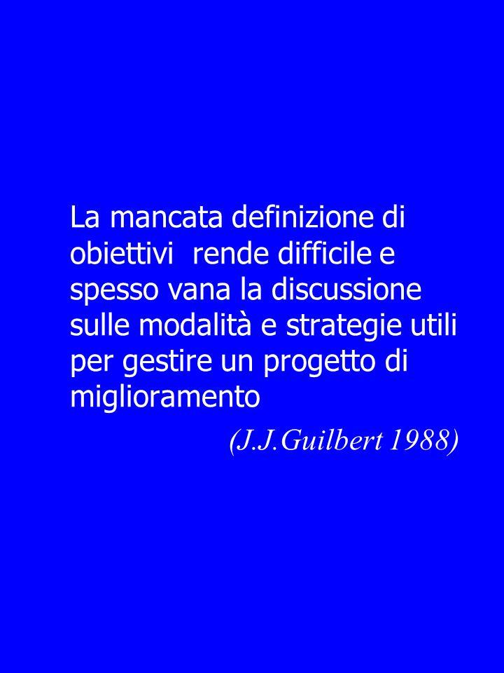 La mancata definizione di obiettivi rende difficile e spesso vana la discussione sulle modalità e strategie utili per gestire un progetto di miglioramento