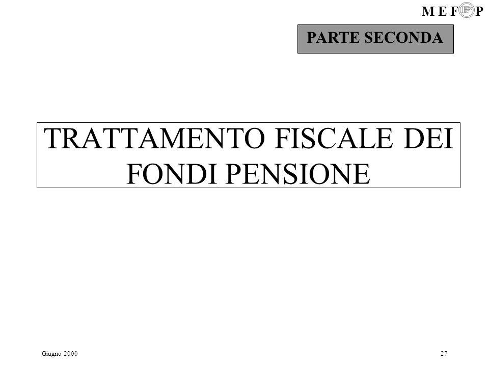 TRATTAMENTO FISCALE DEI FONDI PENSIONE