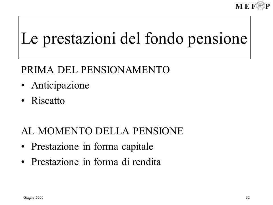 Le prestazioni del fondo pensione