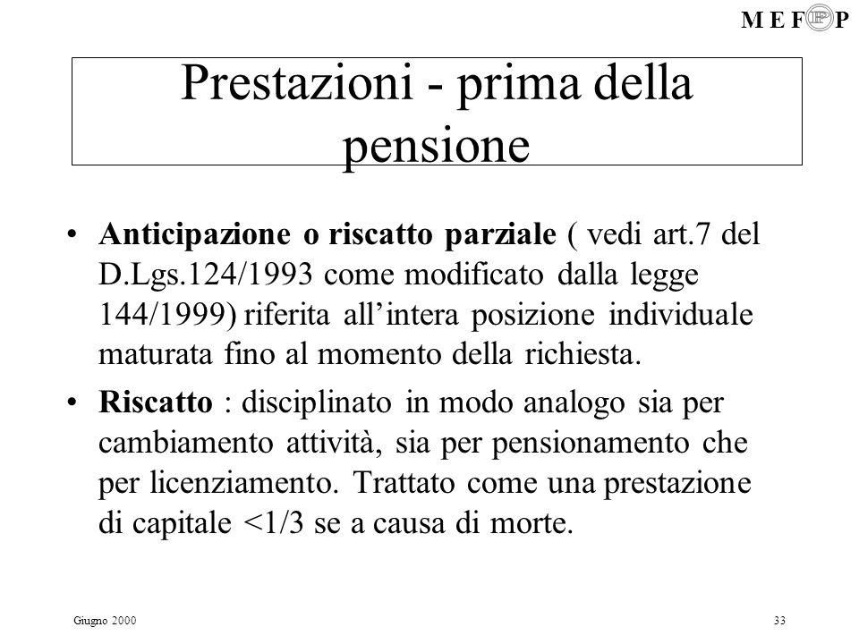 Prestazioni - prima della pensione