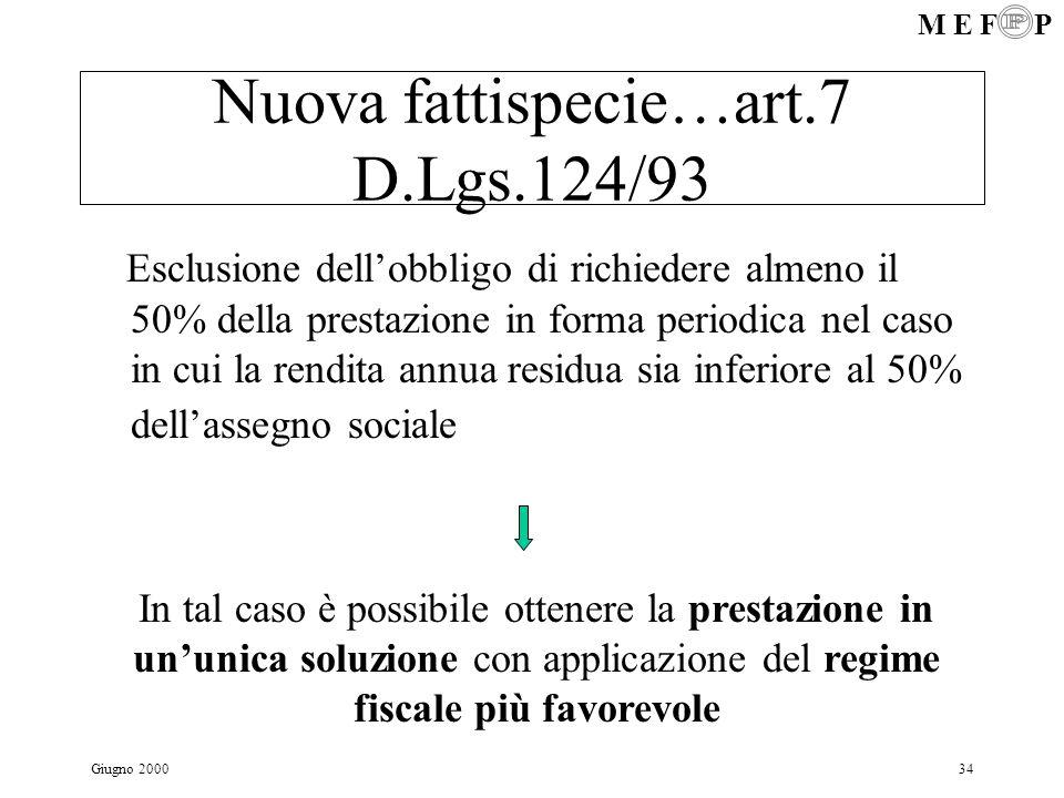 Nuova fattispecie…art.7 D.Lgs.124/93