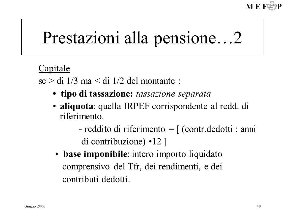 Prestazioni alla pensione…2