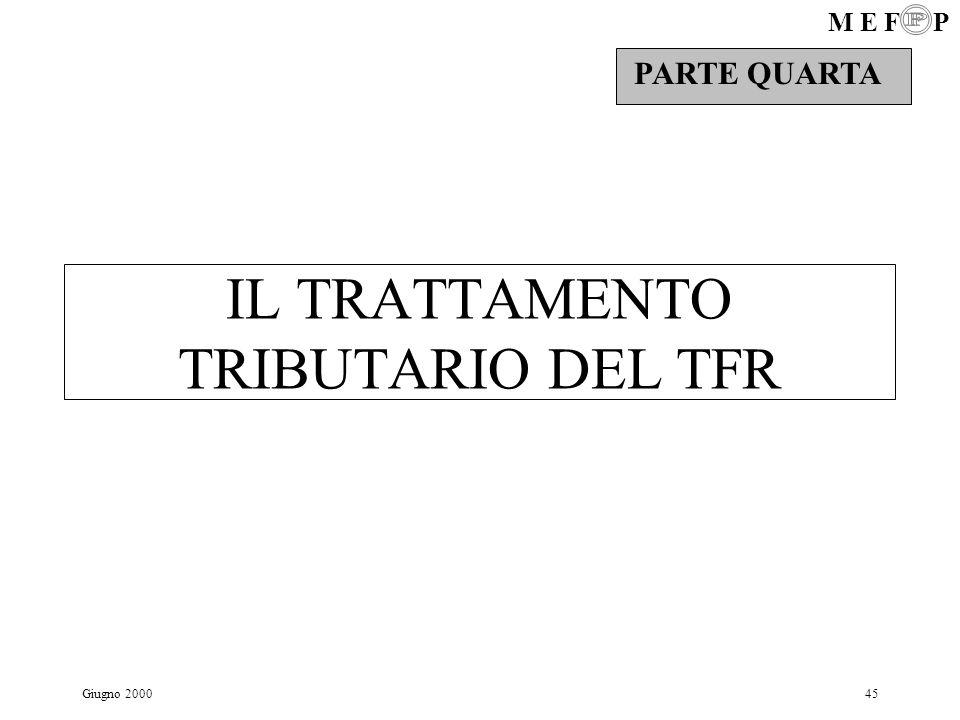 IL TRATTAMENTO TRIBUTARIO DEL TFR