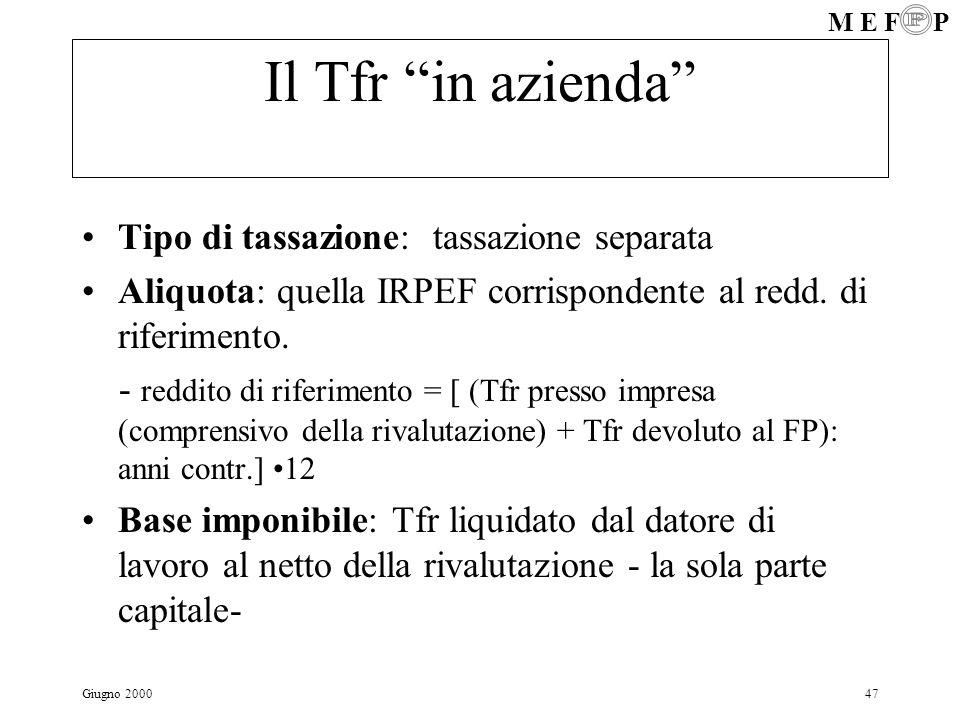 Il Tfr in azienda Tipo di tassazione: tassazione separata
