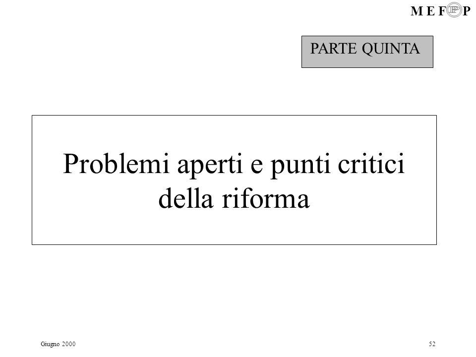 Problemi aperti e punti critici della riforma