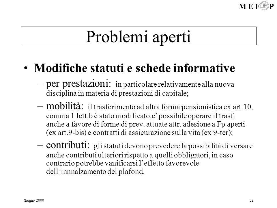 Problemi aperti Modifiche statuti e schede informative