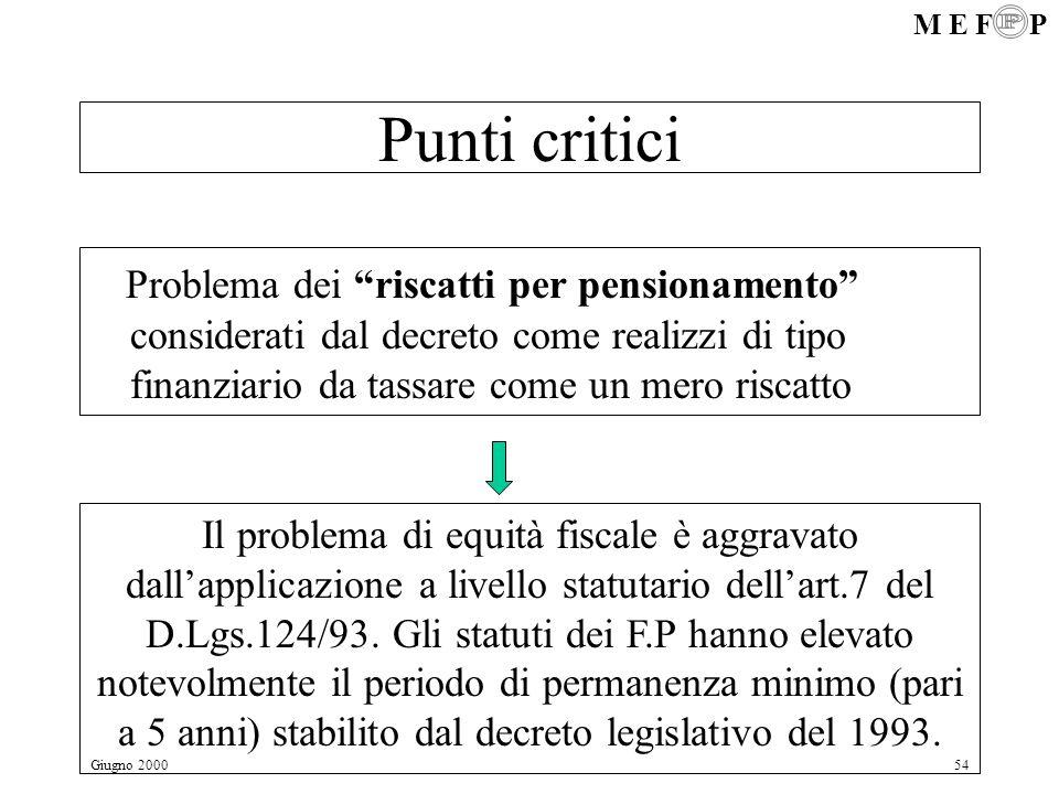 Punti critici Problema dei riscatti per pensionamento considerati dal decreto come realizzi di tipo finanziario da tassare come un mero riscatto.
