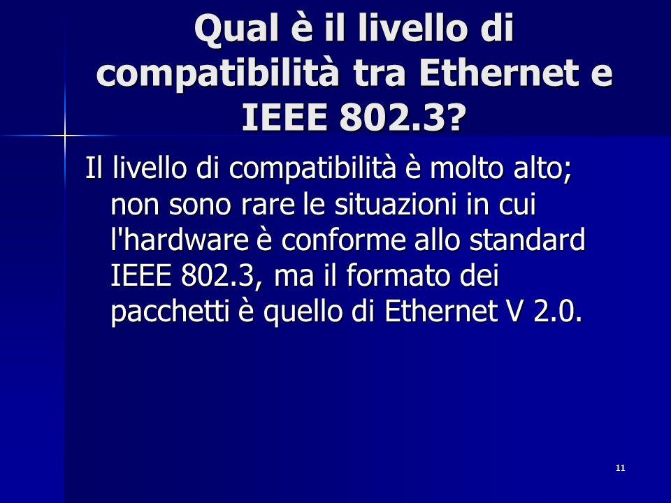 Qual è il livello di compatibilità tra Ethernet e IEEE 802.3