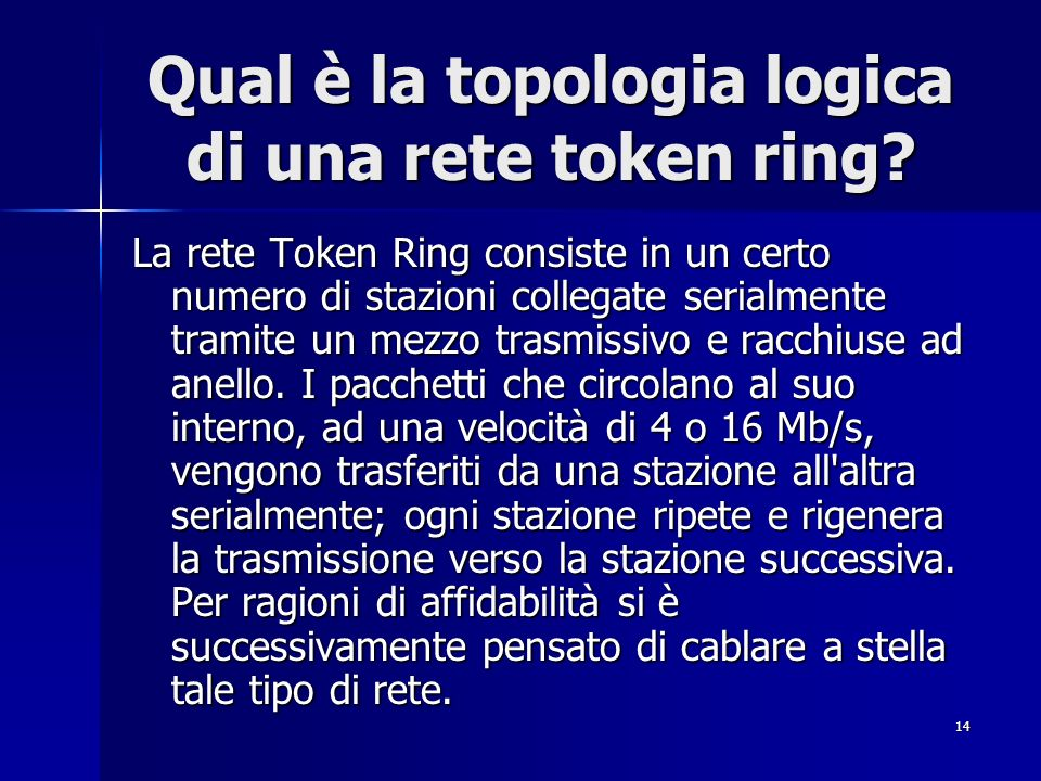 Qual è la topologia logica di una rete token ring