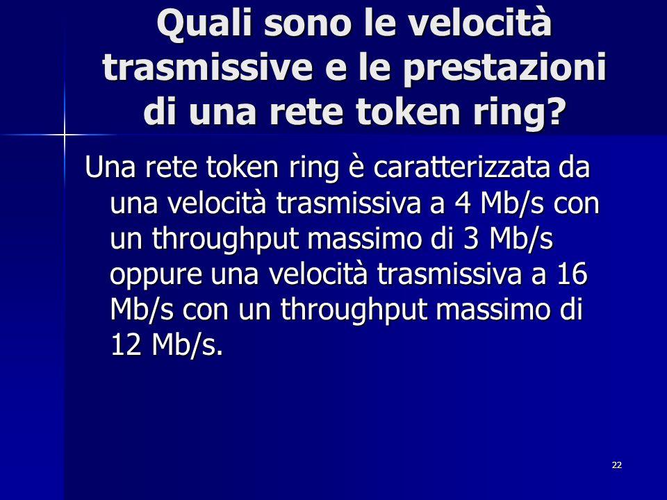 Quali sono le velocità trasmissive e le prestazioni di una rete token ring