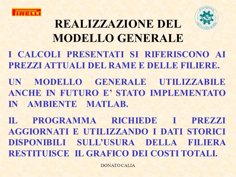 REALIZZAZIONE DEL MODELLO GENERALE
