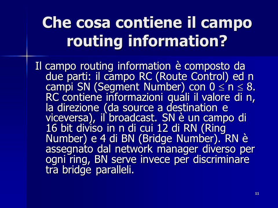 Che cosa contiene il campo routing information