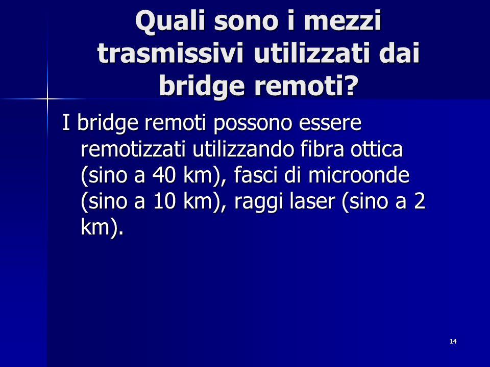 Quali sono i mezzi trasmissivi utilizzati dai bridge remoti