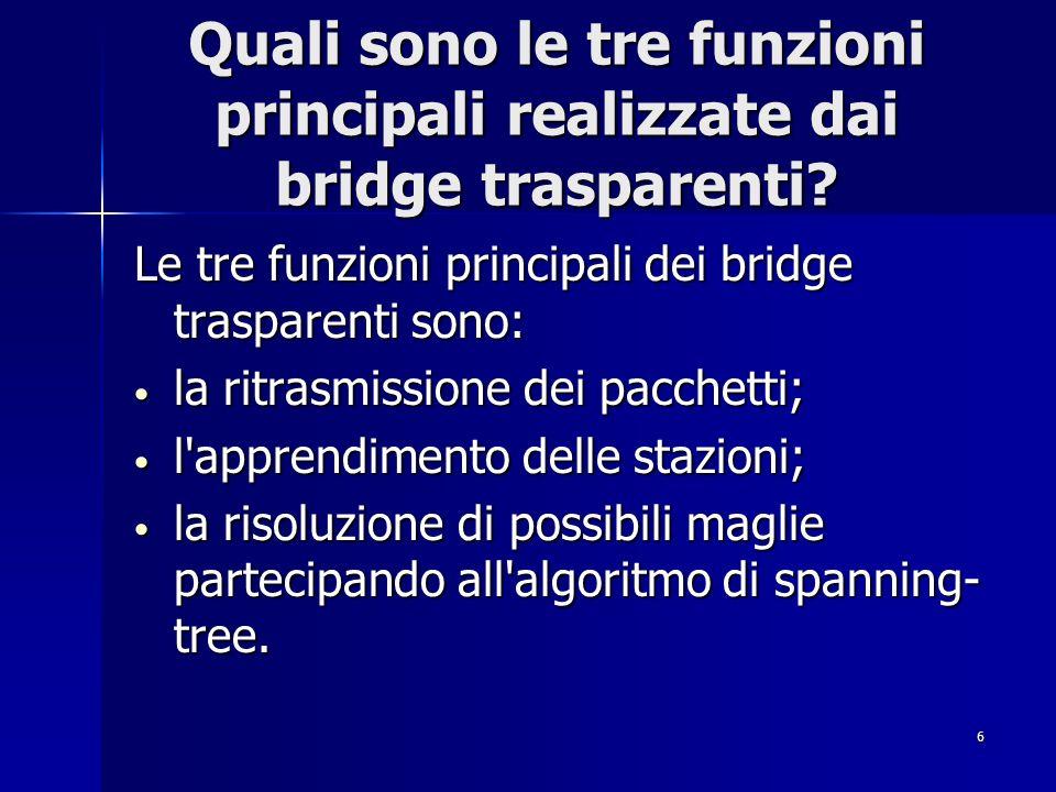 Quali sono le tre funzioni principali realizzate dai bridge trasparenti